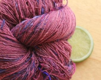 Sparkleberry  - Handspun Merino Wool Yarn Pink Berry Plum