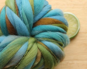 Mountain Lake - Handspun Organic Wool Yarn Green Blue Brown Thick and Thin