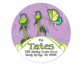 Thistle Personalized Address Labels Stickers / Thistle Swirls Butterfly