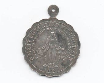 Large antique sterling Miraculous Medal, an artifact of Catholic faith history and aparitions of Mary