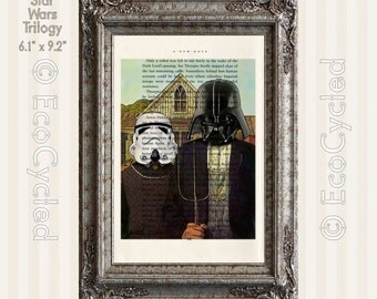 American Gothic Darth Vader & Stormtrooper on Vintage Upcycled Dictionary Art Print Book Art Print Recycled Repurposed Star Wars