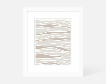 Neutral Modern Art / Large Abstract Artwork / Vertical Art Print / 18x24 16x20 11x14 8x10 5x7 / Framed and Matted