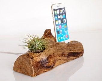 Wooden iPhone Dock - plant holder - oak log - unique design - rustic iPhone dock