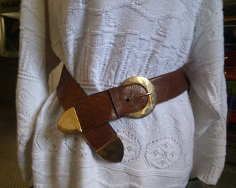 Chris-Cross Brass and Leather Belt