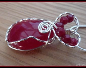 Ruby Pendant, wire wrapped in Sterling Silver, July birthstone, with chain
