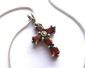 GORGEOUS GARNET Sterling Silver Cross, Designer Garnet 925 Silver Cross, Vintage Gemstone Cross Necklace, Garnet Sterling Cross & Chain
