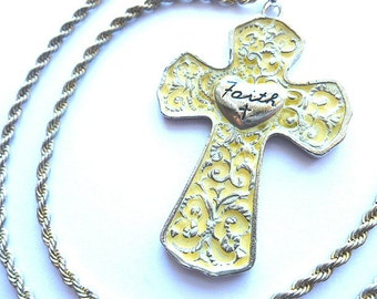 Vintage FAITH CROSS & Chunky Neck Chain, Designer Silvertone Embossed Cross, Mens Cross Pendant Necklace, 1970s Collectible Cross,