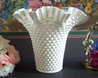 Fenton Double Crimped Hobnail Milk Glass Vase - Wedding Vase - Hobnail Vase - Fenton Hobnail Vase - Wedding Centerpiece - Wedding Milk Glass