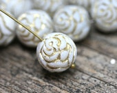 4pc Rose Bud beads, White and Gold wash rose flower round bead, czech glass double sided design puffy rose - 13mm - 2774