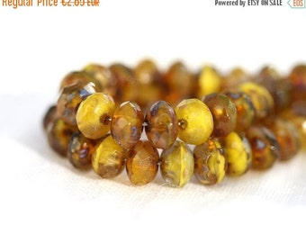ON SALE 3x5mm  Picasso rondelle beads, tiny spacers, czech glass beads mix - mustard yellow, brown - gemstone cut, rondels - 35Pc - 0728