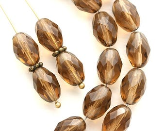 11x8mm Brown Topaz Olive shaped beads, czech glass fire polished oval beads - 20Pc - 0106