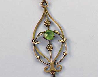 Antique 9ct Gold & Peridot Art Deco Lavalier Drop Necklace
