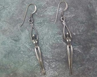 Sterling Silver Nude Woman Articulated Dangle Earrings