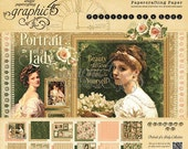 Graphic 45 Portrait Of A Lady Collection 12 x 12 Scrapbook Paper Pad  New  Release In Stock Ready To Ship