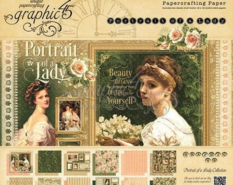 Graphic 45 Portrait Of A Lady Collection 12 x 12 Scrapbook Paper Pad With Free Sticker Sheet New  Release In Stock Ready To Ship