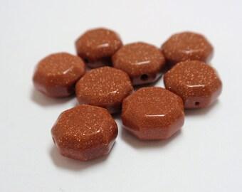 Brown Goldstone Hexagon Beads, 10mm Goldstone Hexagon Beads - 8 Loose Beads