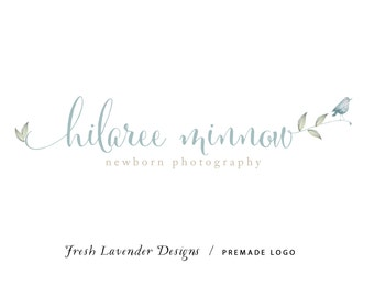 Custom Logo Design Premade Logo and Watermark for Photographers and Small Crafty Businesses Watercolor Leave and Chickadee