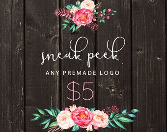Custom Logo Design Premade Logo Design and Watermark for Photographers and Small Business Owners Sneak Peek Logo Preview