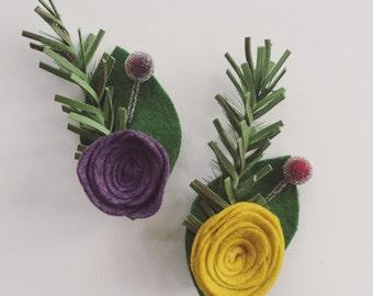 Holiday Pine and Felt Flower Brooch - Felt Flower Pin - Boutonniere