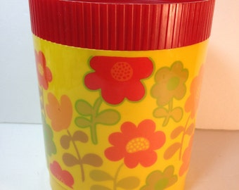 Alladinware canister - sunshine yellow, colorful funky flowers, and red lid