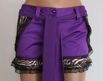 Hot Pants Summer shorts purple shorts lace shorts upcycled clothing upcycled shorts eco friendly purple black Back To School Clothing Size 6