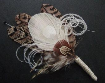 "Pheasant Peacock Feathers Cream Brown ""Leanne"" Wedding Boutonniere - Woodland Rustic Wedding Theme Ideas Groom Best Man Lapel Pin"