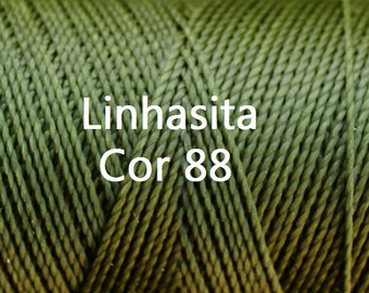 Linhasita Olive Green Cor 88, Waxed Polyester Macrame Cord/ Spools/ String/ Durable/ Hilo