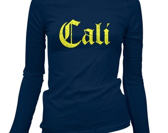 Women's Cali Gothic Long Sleeve Tee - S M L XL 2x - Ladies' T-shirt, Gift For Her, Girl, Cali Shirt, State Shit, Californian, West Coast