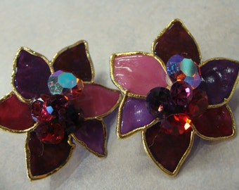 STATEMENT CLIP EARRINGS jewels 1980's 80's oversized lacombe