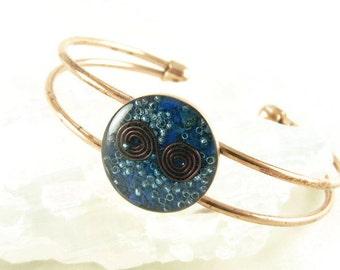 Orgone Energy Copper Cuff Bracelet with Lapis Lazuli - Solid Copper Bracelet - Lapis Lazuli Bracelet - Orgone Jewelry - Artisan Jewelry