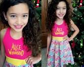 ALICE IN WONDERLAND Dress, Girls Dress, Alice, Cheshire Cat, Alice Aurora Dress, Sleeveless Dress - Available in  2y - 12y
