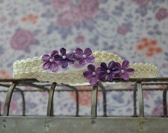 Pretty in Purple...Baby Bows...Triple Flower Headband...Baby Girl Headband...Photography Prop...Newborn Headband...Purple Flower Headband