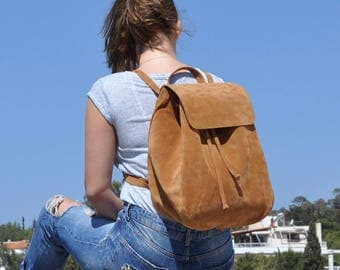 "Large suede leather backpack  / Women 13"" laptop backpack"
