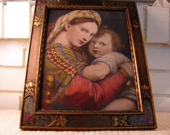 Antique Aesthetic Period frame and original painted print by Raphael