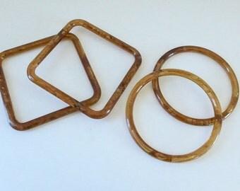 De stash Plastic Purse Handles Amber Look Vintage Macrame Rings Crochet Rings Craft Supply Round Square