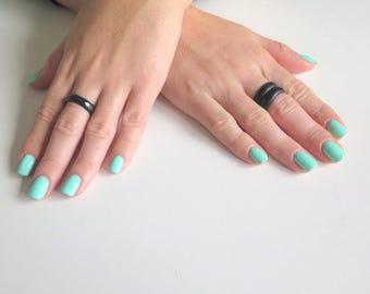 Black Gemstone Ring, Black Agate Stone Ring, Black Band Ring, Stackable Gemstone, Stackable Ring, Hypoallergenic Ring, Nature Ring, Bands