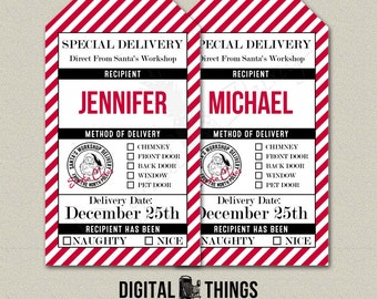 Editable Printable Christmas North Pole Special Delivery Gift Tags. Naughty Nice Tags. Santa Tags. Digital Instant Download DT1917