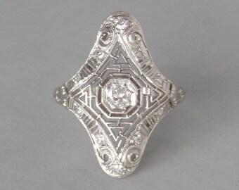 Art Deco Platinum Diamond Ring. Hand Cut Filigree. Rare Size 7.