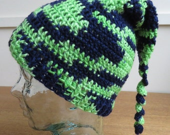 Crochet stocking cap in navy blue and lime green
