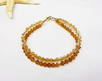 Crystal Bracelet Gold Topaz Bracelet Gold Crystal Bracelet Double Strand Bracelet 14k Gold Filled Bracelet Stamped BuyAny3+Get1Free