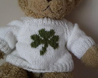 Teddy Bear Sweater - Hand knitted - White with Shamrock St Patrick's Day - fits Build a Bear