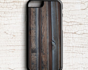 Rustic Cell Phone Case, Dark Brown Wood Grain Photograph -  iPhone or Samsung Galaxy