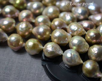 Nucleated pearl leather pearl Edison Pearl Freshwater Pearl earring pearl Loose pearls Flameball Pearl pearl necklace 13-14mm 24pcs PL4314