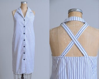 90s Hickory Stripe Button Down Fitted Open Back Summer Dress