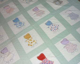 """Vintage FEEDSACK Hand Made...Patchwork Quilt...65"""" by 90"""" FULL..Good Condition..Sun Bonnett Sue"""