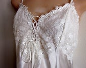 SALE Bridal white nightgown babydoll lace corset tie silky sexy lingerie  S