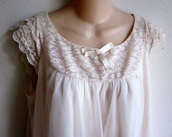 Vintage 50's layered nylon chiffon nightgown lingerie  L 40 bust