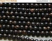 Sale 8mm Golden Banded Black Obsidian Round Polished Gemstone Beads, Half Strand (IND1C365)
