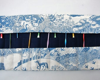 Crochet Hook Case. Double pointed needle roll. Woodland fabric