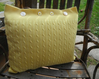 Upcycled Yellow Sweater Pillow - Daisy Buttons